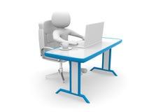 Leute 3d. Person zu einem Büro und zu einem Laptop Lizenzfreie Stockfotos