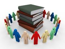 Leute 3d um Bücher Lizenzfreies Stockbild