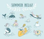 Leute aktiv entspannen sich, schwimmen im Meer Sommer-Seeferien-Illustration lizenzfreie abbildung