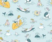 Leute aktiv entspannen sich, schwimmen im Meer Sommer-Seeferien-Illustration vektor abbildung