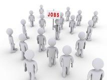 Leute angezogen durch Jobzeichen Lizenzfreie Stockfotografie