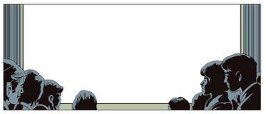 Leute auf Betrachtung in der Halle Illustration im Retrostil stock abbildung