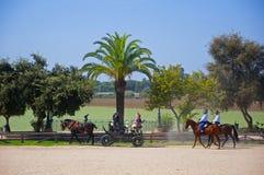 Leute auf dem Trainer und auf den Pferden von der Messe stockfotografie