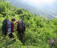 Leute auf den grünen Bergen Stockbilder