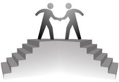Leute auf den Treppen, die im Händedruck auf Abkommen sich treffen stock abbildung