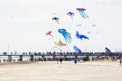 Leute auf der Anlegestelle bei Adelaide International Kite Festival Lizenzfreies Stockbild
