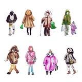 Leute auf der Straße in der warmen Kleidung Aquarellskizze stock abbildung
