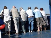 Leute auf einem Reiseflug Stockfoto