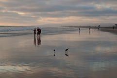 Leute auf einem Süd-Kalifornien, USA setzen bei Sonnenuntergang auf den Strand Stockbild