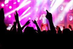 Leute auf Musikkonzert, Disco Lizenzfreie Stockfotografie