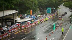 Leute auf Staatsbegräbnis von Lee Kuan Yew Stockfoto