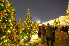 Leute auf Weihnachtsmarkt auf Rotem Platz in Moskau-Stadtzentrum, verziertem und belichtetem Rotem Platz für Weihnachten lizenzfreie stockfotos