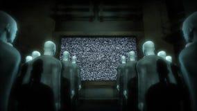 Leute-aufpassender Fernsehenstatic stock abbildung