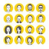 Leute-Avatara-Gesichtsikonen Stockfoto