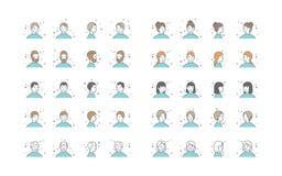Leute-Avatara-Sammlungs-Vektor Nichterfüllungs-Charakter-Avatara Karikatur-Linie Art Illustration lizenzfreie abbildung