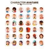 Leute-Avatara-Sammlungs-Vektor Nichterfüllungs-Charakter-Avatara Lokalisierte Illustration der Karikatur Ebene lizenzfreie abbildung