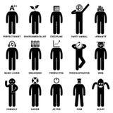 Leute bemannen charakteristisches Fluglagen-Piktogramm Stockfoto