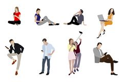 Leute bemannen und Frau mit Geräte Smartphones stockfotografie