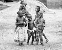 Leute in Benin, in Schwarzweiss Stockfotos