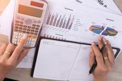 Leute berechnen über Kosten zu Hause Stockbilder