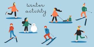 Leute beschäftigt gewesen mit Wintersport: Ski fahrender Mann und Frau; Frau mit einem Kind in einem Pferdeschlitten; Eislaufleut stock abbildung