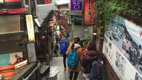 Leute besuchen an alter Stadt Jiufen in Taipeh, Taiwan stock footage