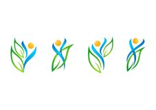 Leute, Blatt, Logo, Wellness, natürlich, Gesundheit, Ökologie, Satz des Symbolikonen-Designvektors Stockbilder