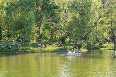 Leute-Boots-Fahrt auf Carol Public Park Lake On-Frühlings-Tag Stockfoto