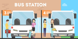 Leute am Busbahnhof vektor abbildung