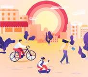Leute-Charaktere, die in Stadt an der Sommerzeit gehen vektor abbildung