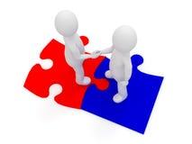Leute 3d, die Hände auf Puzzlespielstücken rütteln Konzept der Personengesellschaft und der finden Lösungen Lizenzfreie Stockfotos