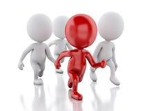 Leute 3d, die mit einem roten Führer laufen Reihe stehende Tabletten vektor abbildung