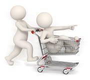 Leute 3d, die mit Warenkorb laufen lizenzfreie abbildung