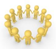 Leute 3d, die zusammen im Kreis und im Händchenhalten stehen Stockbilder