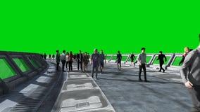 Leute 3d in Sci FI-tonnel verkehr Konzept von Zukunft Gr?ner Bildschirm Wiedergabe 3d lizenzfreie abbildung