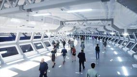 Leute 3d in Sci FI-tonnel verkehr Konzept von Zukunft Wiedergabe 3d stock abbildung