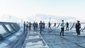 Leute 3d in Sci FI-tonnel verkehr Konzept von Zukunft Wiedergabe 3d vektor abbildung