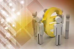 Leute 3d um Eurozeichen Stockfotos