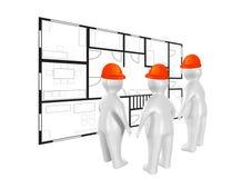 Leute 3D und Bauplan Lizenzfreie Stockfotografie