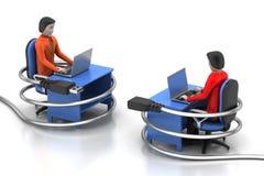 Leute 3d und Laptop mit Verbindungskabel Lizenzfreie Stockfotos
