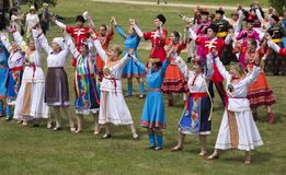 people in national costumes on the day of Russia