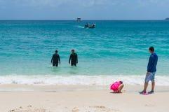 Leute in den schwarzen stingersuits im tropischen Ozean Stockbilder