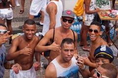 Leute in den Straßen von Rio de Janeiro während des Karnevals Lizenzfreies Stockfoto