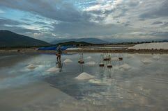 Leute in den traditionellen Dörfern machten Salz vom Meer hatten 18. Jahrhundert part3 stockfotografie