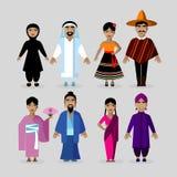 Leute in den traditionellen Kostümen Mexiko, Japan, Indien, Mittlere Osten Stockfotografie