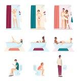Leute in der Badezimmerwäsche und in der mit Toilette, tägliche Hygiene Verbinden Sie nehmen eine Dusche, den Mann, der in einer  lizenzfreie abbildung