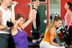 Leute in der Gymnastik trainierend mit Gewichten Lizenzfreies Stockbild