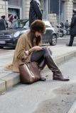Leute an der Mailand-Modewoche Stockbild