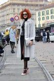 Leute an der Mailand-Modewoche Stockbilder