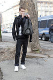 Leute an der Mailand-Modewoche Stockfotos